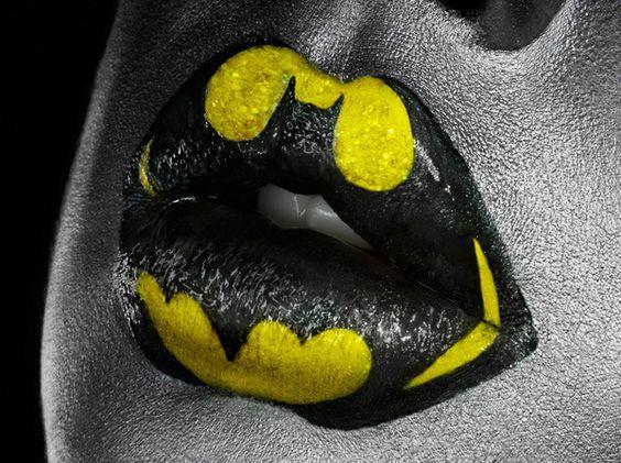 Superheroes Lip Art Featuring Batman, Captain America andSuperman.