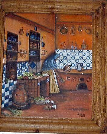 Cuadros de pintura cocina antigua buscar con google - Pinturas para cocina ...