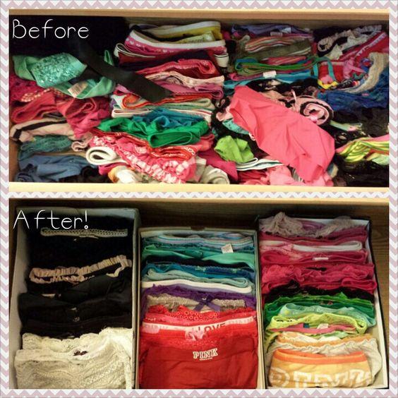 Shoebox organization for underwear drawer