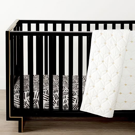 Organic Coco Crib Fitted Sheet Black, Coco Baby Bedding
