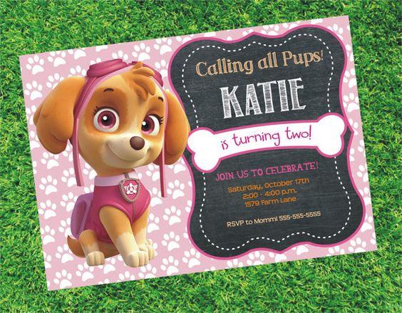 Paw Patrol inviti invito di compleanno ragazza Paw di digiangie