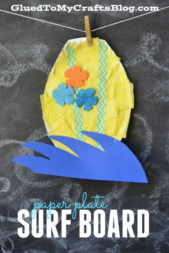 Paper plate surf board kid craft crafts surf and surf for Surfboard craft for kids