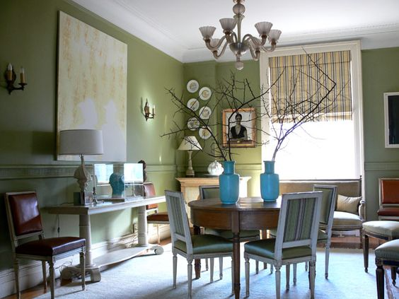 A View Of The Moss Green Dining Room Two Demi Lune Tables From Kenny Ball Antiques In Charlottesville Form Table Venetian Glass Chandelier