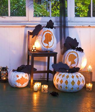 victorian pumpkinstemplates and white spray paint love the silhouettes holidays halloween pumpkinhalloween fall decorationspumpkins - Victorian Halloween Decorations