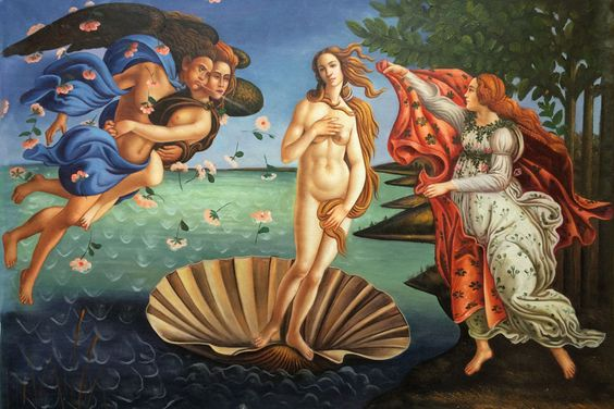 """Botticelli, """"Birth of Venus"""" placed 3rd in overstockArt's Top 10 Most Romantic Oil Paintings for Valentine's Day 2015.  #art"""