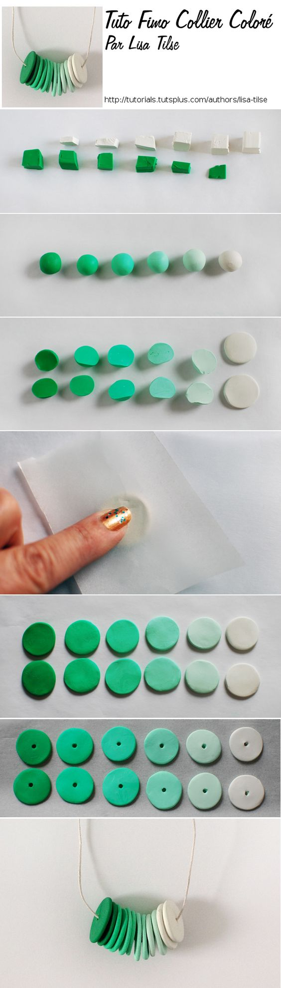 tuto fimo d'un joli collier colore facile à faire