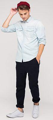 Hemd in jeans-hellblau
