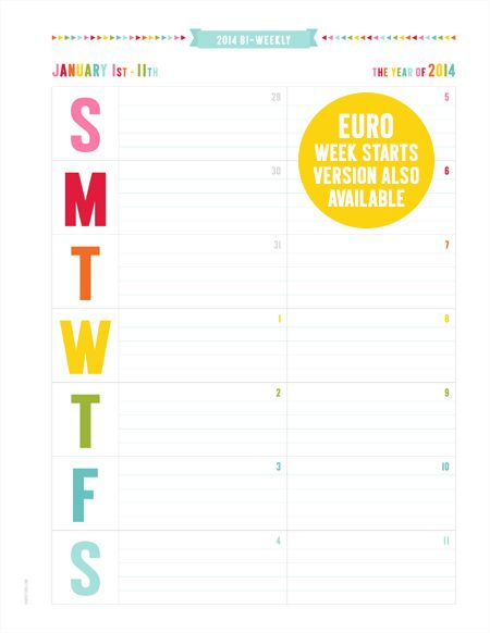 014 BI-WEEKLY CALENDAR  »  predated bi-weekly pages {designed to be printed double sided - 2