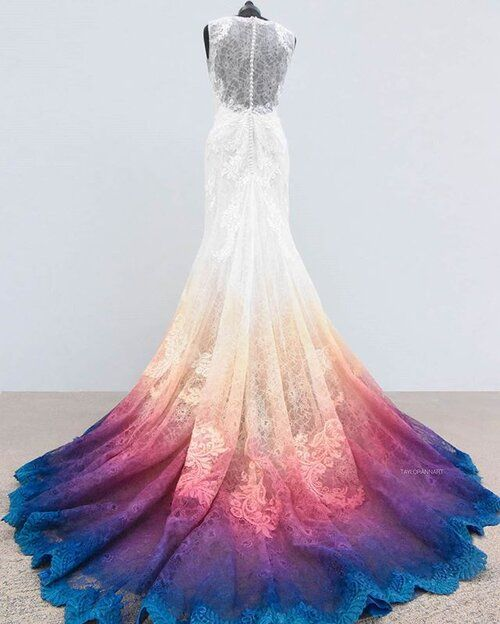 Mint And Plum Ombre Wedding Dress Colorful Non Traditional Dyed Bridal Gowns In 2020 Ombre Wedding Dress Painted Wedding Dress Rainbow Wedding Dress