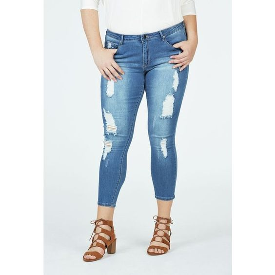Justfab Signature Skinny Distressed Ankle Grazer ($40) ❤ liked on Polyvore featuring plus size women's fashion, plus size clothing, plus size jeans, blue, destructed skinny jeans, ripped skinny jeans, ripped jeans, cropped skinny jeans and blue skinny jeans
