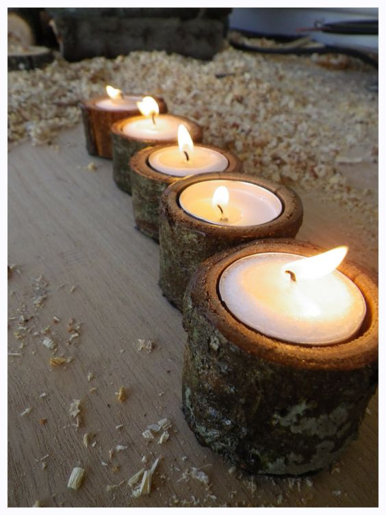 Oak tea light candle holders. I made them on my lathe. Check it out on Etsy.