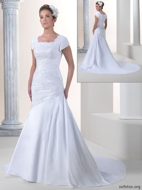 Vestido de noiva de renda com manguinha