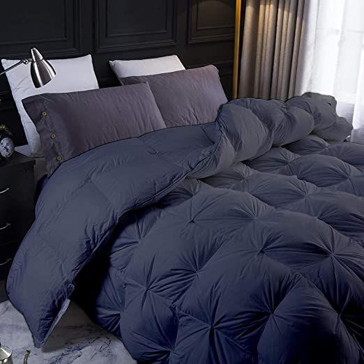 Dark Gray Goose Down Pinch Comforter Oversized Queen Size 98 X 98 Inches 1 Piece All Season Duvet Insert 650 Gs Comforters Pintuck Comforter Hotel Collection