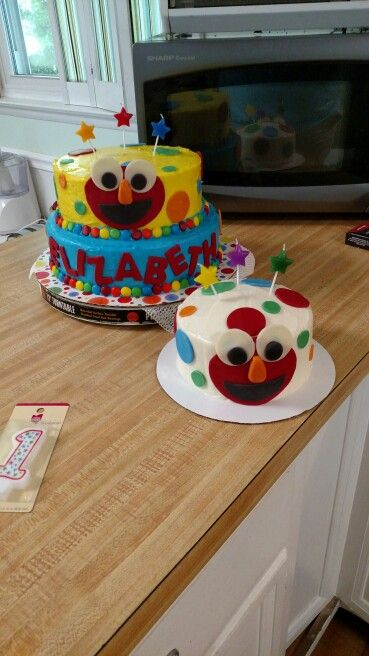 Elmo 1st Birthday cakes -  two campers three original