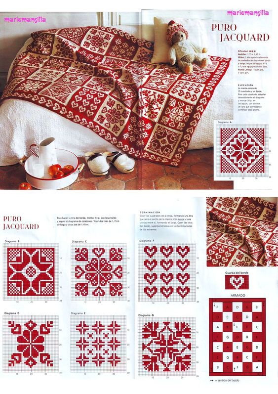 Red & white cross stitch