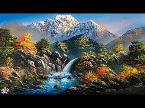 Waterfall Painting Beautiful Acrylic Landscape Painting Nature Painting Scene Scenery Paintings Beautiful Landscape Paintings Beautiful Scenery Paintings