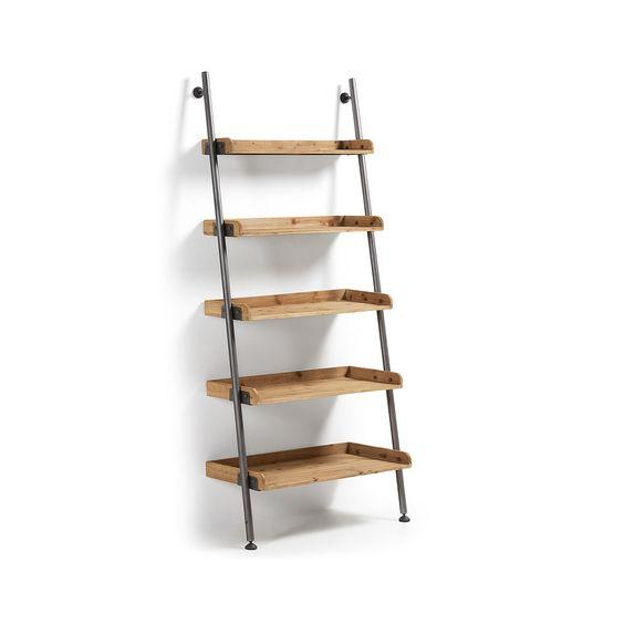 Estantería librería industrial modular ,en madera y hierro, estantes graduables…