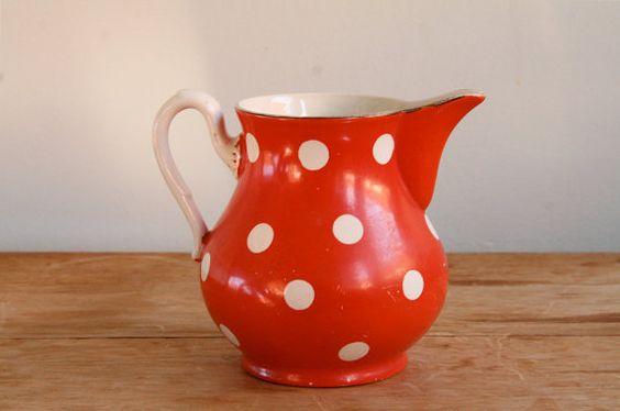 vintage French polka dot pitcher