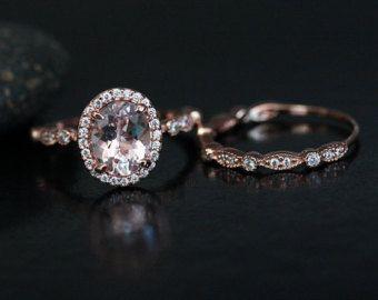 White Gold Morganite Ring Diamond Ring by Twoperidotbirds on Etsy