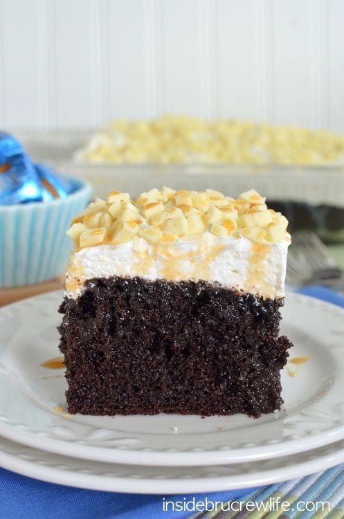 White Chocolate Caramel Poke Cake - chocolate, caramel, and candy bars make this cake so delicious