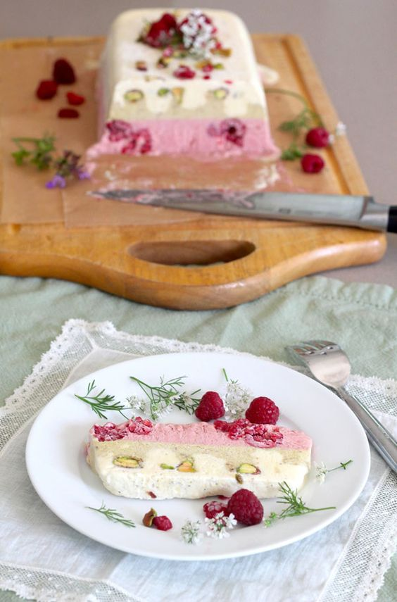 Pistachio, Strawberry, And Vanilla Semifreddo Recipe — Dishmaps