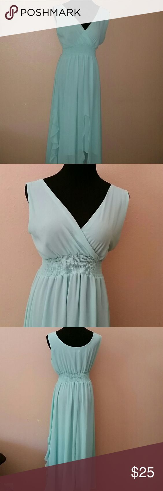 Light blue chiffon dress Light blue chiffon dress size medium Melina Fashion Dresses Maxi