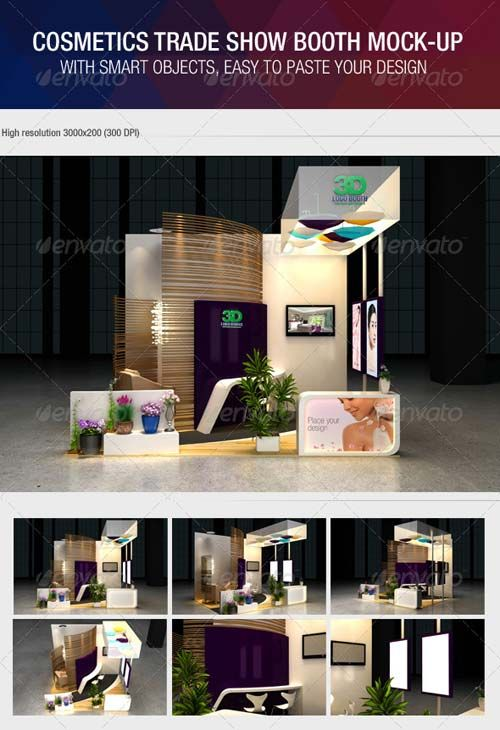 Mock Up Exhibition Stand Psd Free Download : Graphicriver cosmetics exhibition booth mock up free