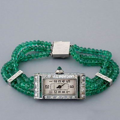 Antique Art Deco Emerald & Diamond Watch
