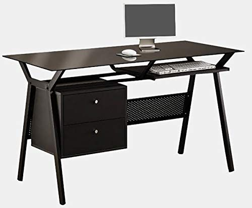 Metal Desk With Glass Top Rectangular Computer Desk With Drawers And Keyboard Tray Black Metal Desks Desk With Drawers Desk