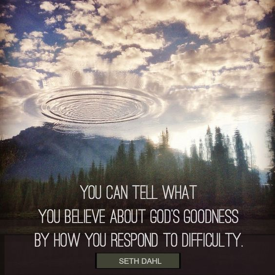 You can tell what you believe about God's goodness by how you respond to difficulty.  -Seth Dahl, Bethel Church Children's Pastor, Redding, CA