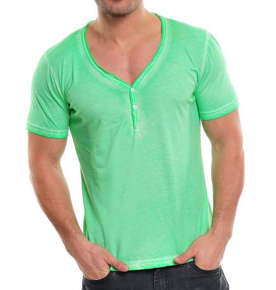 WASABI Shirt Hemd V-Neck-Deep T-Shirt Oil Wash Vintage Party Grün-Green S-M-L-XL