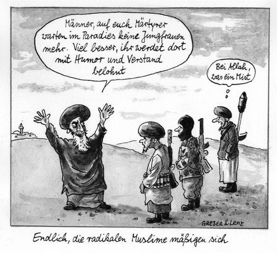 Sicherheitshalber haben sie ihre Zeichentische nach Mekka ausgerichtet: Karikatur von Greser & Lenz aus der F.A.Z. vom 9. Januar