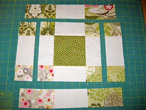 """Variation of Disappearing 9 Patch. Looks easy enough to figure out and can make it any size that you want to cut pieces for but I think a 12"""" block would be nice in solids and florals."""