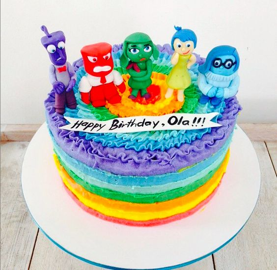 Inside Out cake #disney #insideout #cococakes #rainbowcake:
