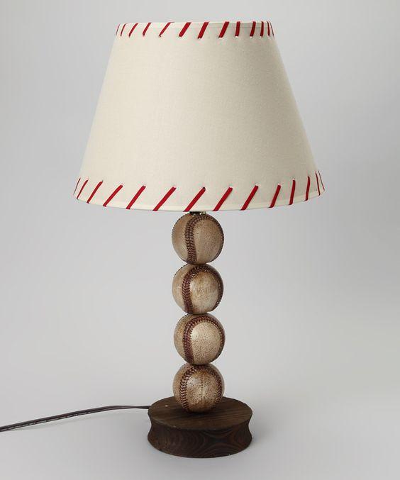 White Stacked Baseball Lamp