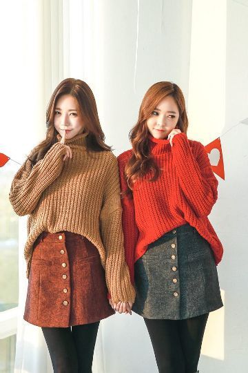 Boca Button Skirt | Korean Fashion
