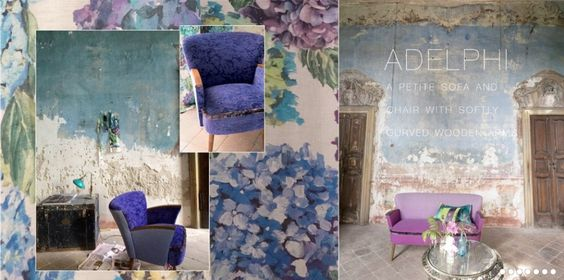 Interior Trend 2015 - Designers Guild Sudara: linen, texture, peeled paint, old fresco / frescoes, azure, mauve, cobalt blue, veridian swimming pool blue, bleached colours, weathered textures, blue hydrangeas, faded glory