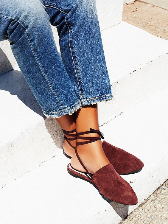 Freefall Flat   Slip on pointy toe flats with a long ankle strap.  Treaded rubber sole and a padded footbed for extra comfort and support. *Faryl Robin + Free People