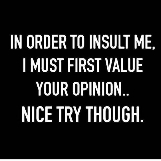 in order to insult me, I must first value your opinion.