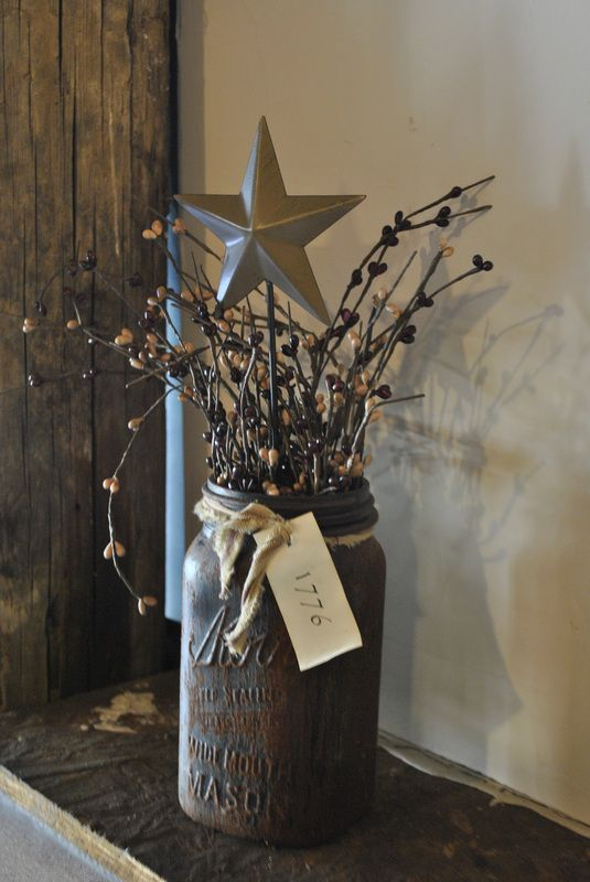 Mason jar painted brown.. rustic, love this!