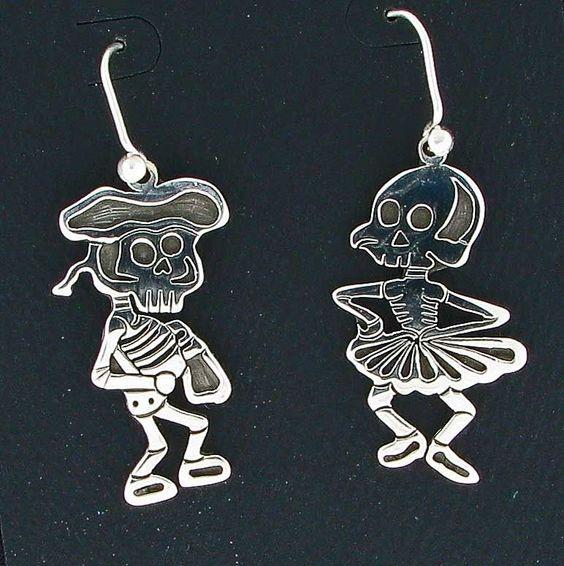 Sterling Silver Overlay Dia de los Muertos Earrings by Maria Belen Nilson #DropDangle.  Fun fun!