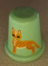 Hand painted green wooden thimble artist signed Debbie 94 with tiger cat