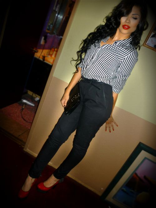 Red Lip Stick with a vertical striped shirt  and cute high-waist pants, with bold red heels
