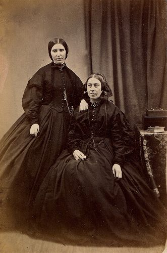 Mother and Daughter in Mourning, Albumen Carte de Visite, Circa 1862