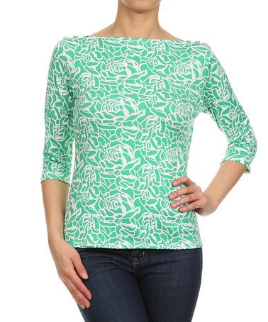This Mint & White Floral Three-Quarter Sleeve Top by J-Mode USA Los Angeles is perfect! #zulilyfinds