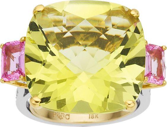 Paolo Costagli Citrine, Tourmaline, Diamond, Gold Ring