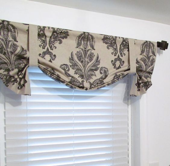 TIE UP Valance Top Window Treatment Black/ Oatmeal Lined Curtain Handmade  In The USA | Valance, Window And Room