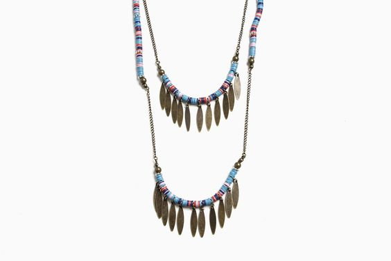 WOMENS MULTI COLOR DISC NECKLACE (MULTI) by Stussy