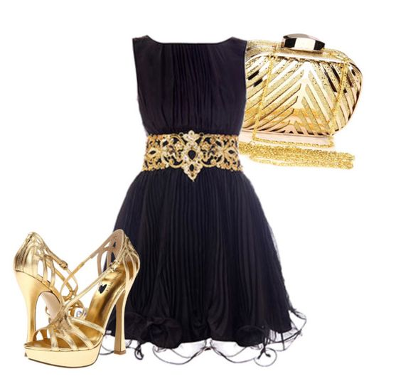 """""""Black and Gold"""" by astranger722 on Polyvore featuring Chicnova Fashion, ASOS, Nine West, women's clothing, women, female, woman, misses and juniors"""