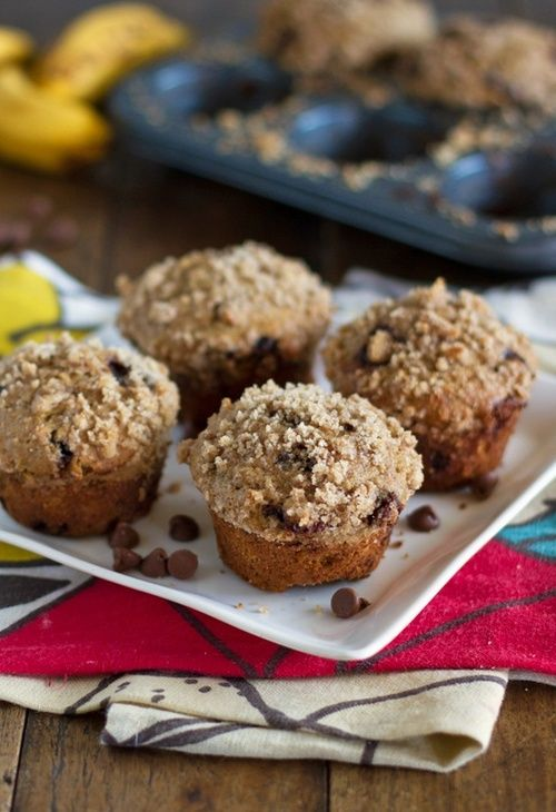 whole wheat chocolate chip banana peanut butter muffins - wonder how it'd be w/o the banana?  I don't like bananas